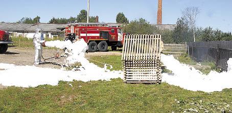 Огнеборцы потушили пеной загоревшийся домик.