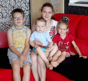 Екатерина Вовк с детьми.