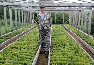 Евгений Морозов в питомнике, где подрастают саженцы хвойных пород.