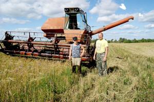 Комбайнер Сергей Поспелов (слева) и председатель СПК «Звезда» Сергей Макаров на ячменном поле возле деревни Кулибарово.
