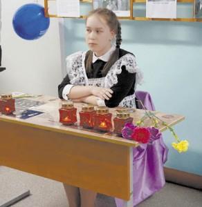 Право первой посидеть за партой Героя было предоставлено Лике Лукиной, как одной из лучших учениц школы.